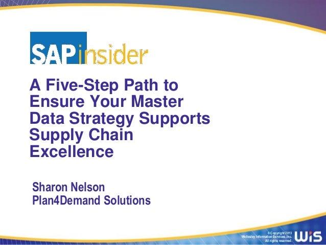 A Five-Step Path toEnsure Your MasterData Strategy SupportsSupply ChainExcellenceSharon NelsonPlan4Demand Solutions       ...