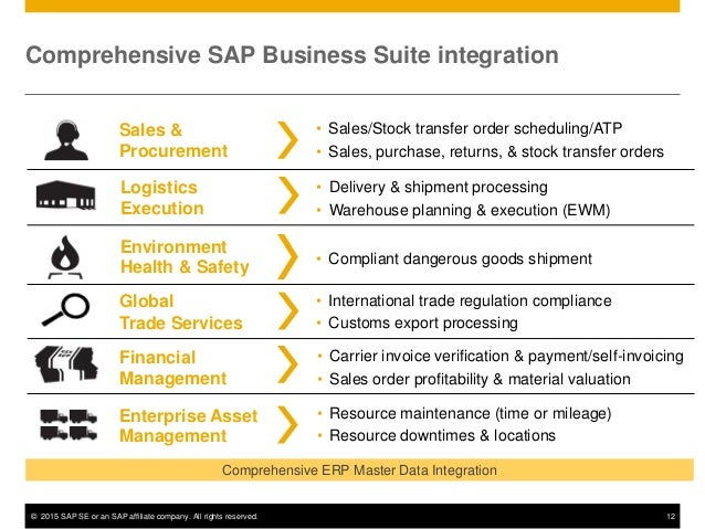 © 2015 SAP SE or an SAP affiliate company. All rights reserved. 12 Comprehensive SAP Business Suite integration Environmen...