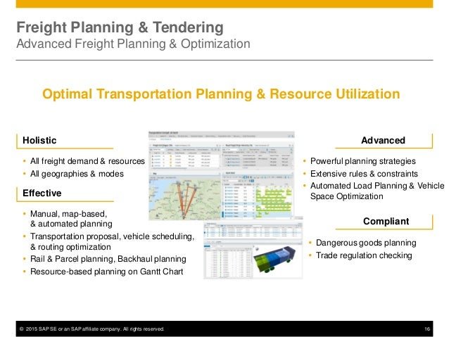 © 2015 SAP SE or an SAP affiliate company. All rights reserved. 16 Holistic  All freight demand & resources  All geograp...