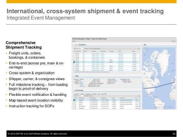 © 2015 SAP SE or an SAP affiliate company. All rights reserved. 20 International, cross-system shipment & event tracking I...
