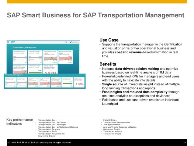 © 2015 SAP SE or an SAP affiliate company. All rights reserved. 22 Use Case • Supports the transportation manager in the i...