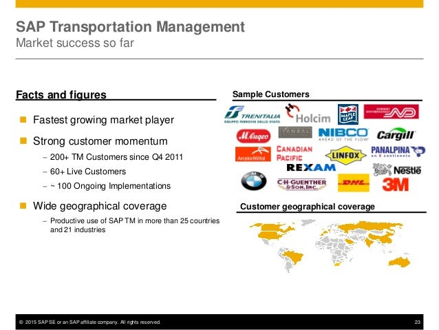 © 2015 SAP SE or an SAP affiliate company. All rights reserved. 23 SAP Transportation Management Market success so far Fac...
