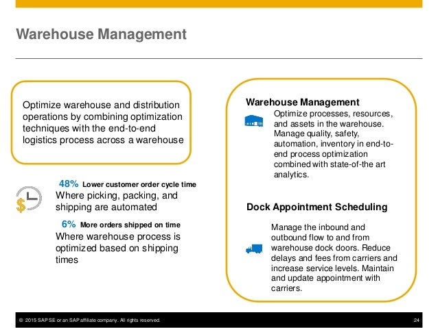 © 2015 SAP SE or an SAP affiliate company. All rights reserved. 24 Optimize warehouse and distribution operations by combi...