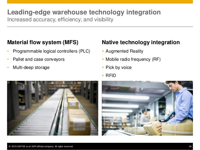 © 2015 SAP SE or an SAP affiliate company. All rights reserved. 28 Leading-edge warehouse technology integration Increased...