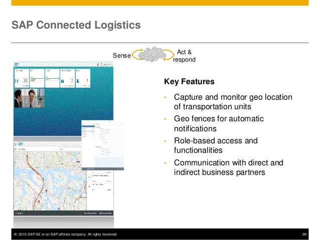 © 2015 SAP SE or an SAP affiliate company. All rights reserved. 39 SAP Connected Logistics Key Features • Capture and moni...