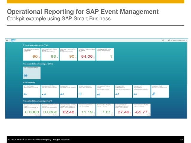 © 2015 SAP SE or an SAP affiliate company. All rights reserved. 41 Operational Reporting for SAP Event Management Cockpit ...