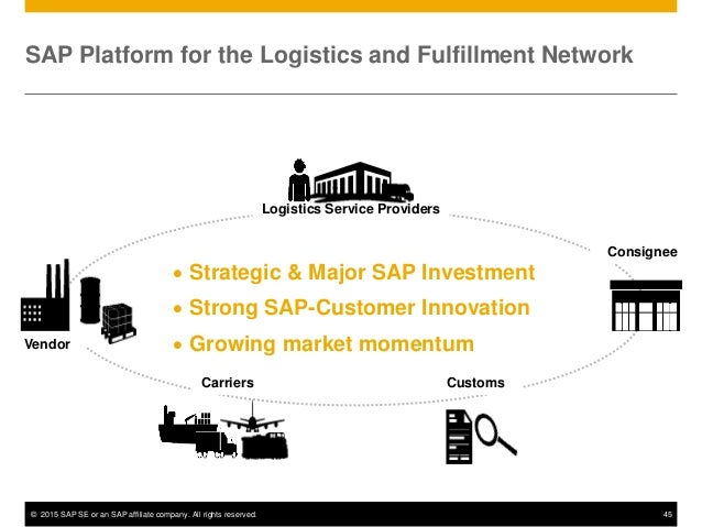 © 2015 SAP SE or an SAP affiliate company. All rights reserved. 45 SAP Platform for the Logistics and Fulfillment Network ...