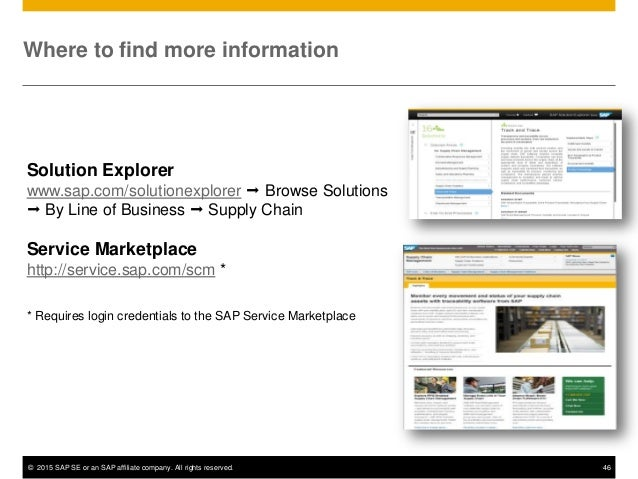 © 2015 SAP SE or an SAP affiliate company. All rights reserved. 46 Where to find more information Solution Explorer www.sa...