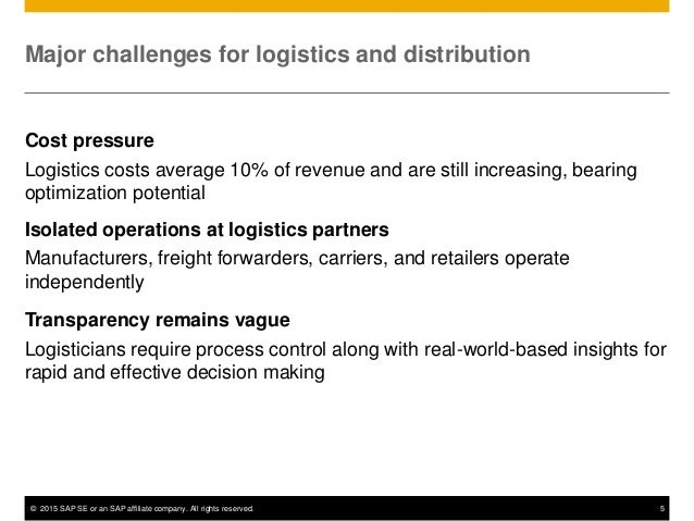 © 2015 SAP SE or an SAP affiliate company. All rights reserved. 5 Major challenges for logistics and distribution Cost pre...
