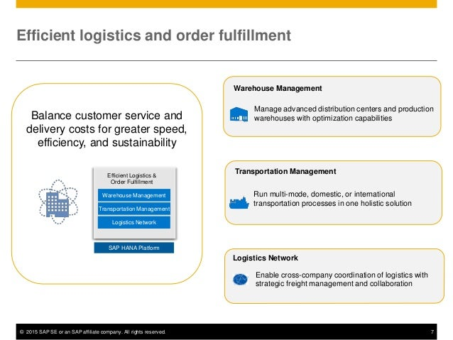 © 2015 SAP SE or an SAP affiliate company. All rights reserved. 7 Balance customer service and delivery costs for greater ...