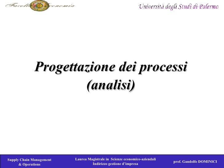 Progettazione dei processi                       (analisi)     Supply Chain Management   Laurea Magistrale in Scienze econ...