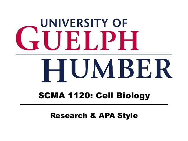 SCMA 1120: Cell Biology Research & APA Style
