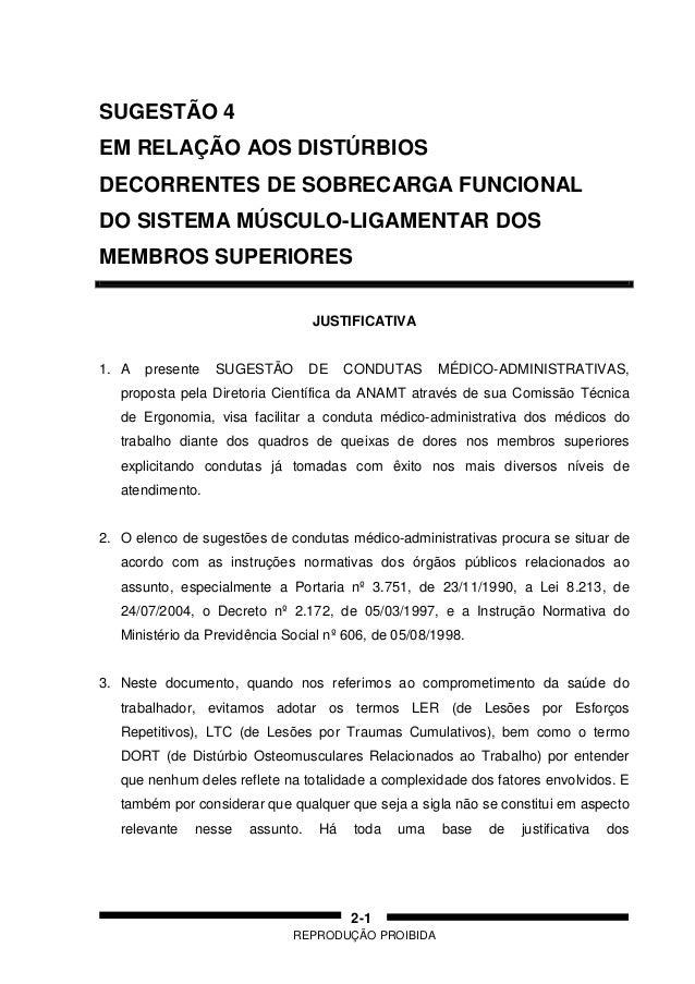 REPRODUÇÃO PROIBIDA 2-1 SUGESTÃO 4 EM RELAÇÃO AOS DISTÚRBIOS DECORRENTES DE SOBRECARGA FUNCIONAL DO SISTEMA MÚSCULO-LIGAME...