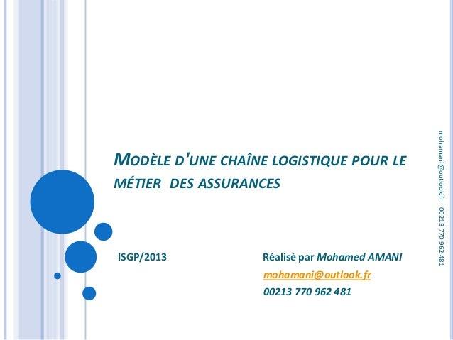 MODÈLE D'UNE CHAÎNE LOGISTIQUE POUR LE MÉTIER DES ASSURANCES ISGP/2013 Réalisé par Mohamed AMANI mohamani@outlook.fr 00213...