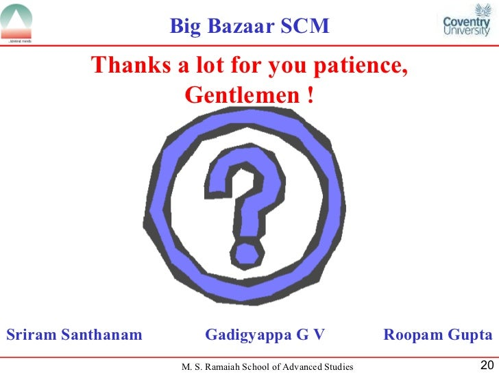 supply chain management in big bazaar Supply chain management: registers maintained by logistics in big bazaar: food bazaar out ward big bazaar outward vendor schedule register bar code register.