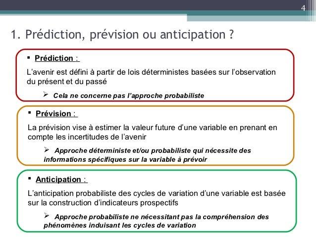 41. Prédiction, prévision ou anticipation ?    Prédiction :   L'avenir est défini à partir de lois déterministes basées s...