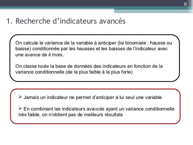 81. Recherche d'indicateurs avancés  On calcule la variance de la variable à anticiper (loi binomiale : hausse ou  baisse)...
