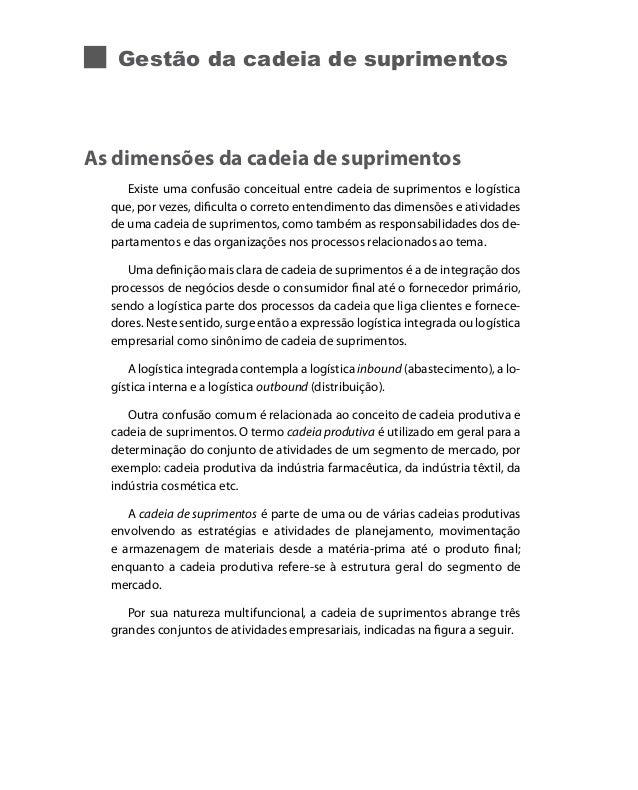 Gestão da cadeia de suprimentos  As dimensões da cadeia de suprimentos Existe uma confusão conceitual entre cadeia de supr...