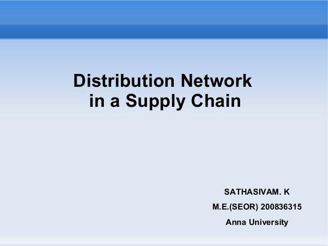 Distribution Network in a Supply Chain SATHASIVAM. K M.E.(SEOR) 200836315 Anna University