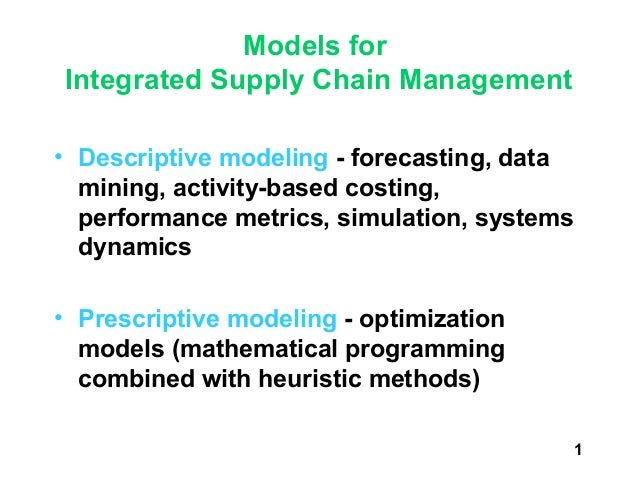 Models forIntegrated Supply Chain Management• Descriptive modeling - forecasting, data  mining, activity-based costing,  p...