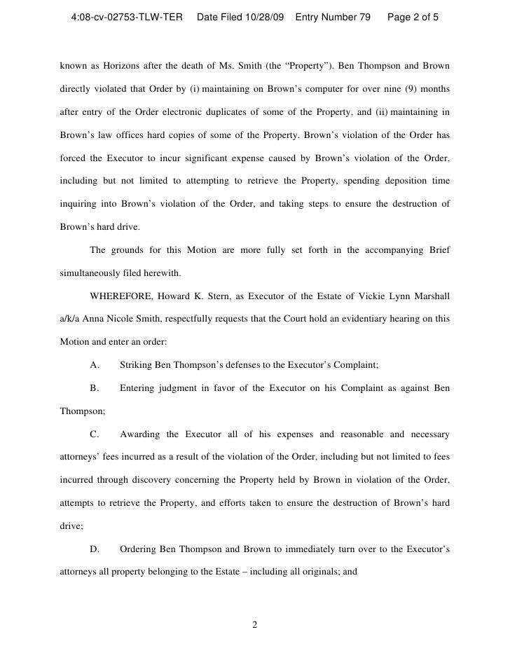 Motion For Contempt And Sanctions