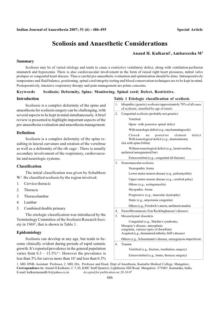 Indian Journal of Anaesthesia 2007; 51 (6) : 486-495                                                      Special Article ...