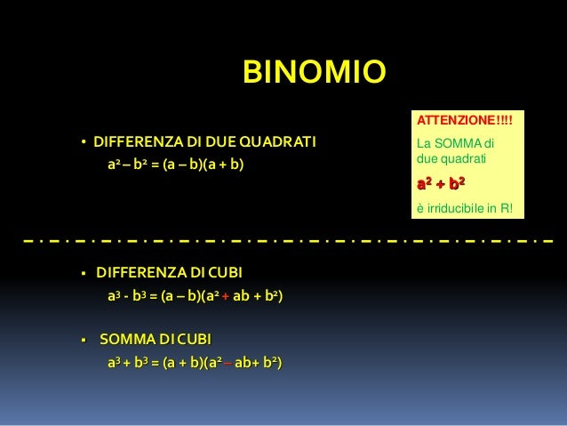 Scomposizione di polinomi for Differenza di due quadrati