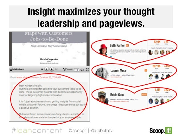 Insight maximizes your thought leadership and pageviews.  @scoopit | @arabellatv