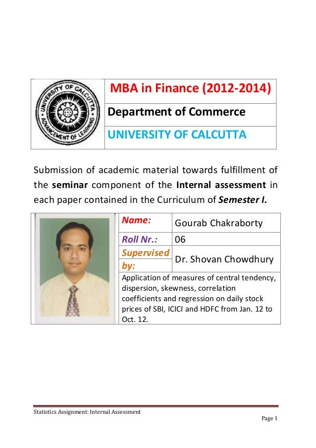 MBA in Finance (2012-2014)                            Department of Commerce                            UNIVERSITY OF CALC...