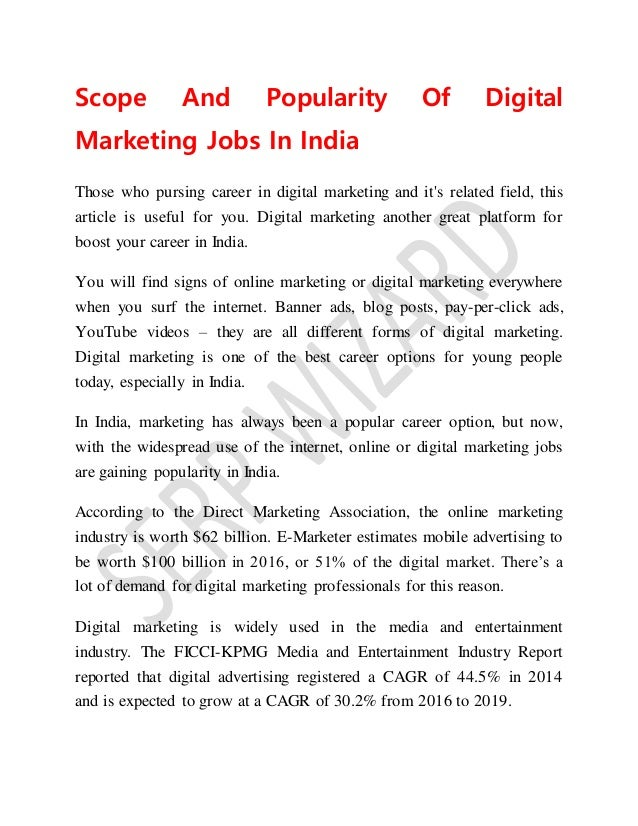 Scope and popularity of digital marketing jobs in india