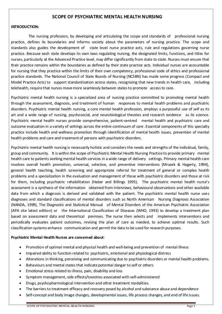 Scope Of Psyciatric Mental Health Nursing