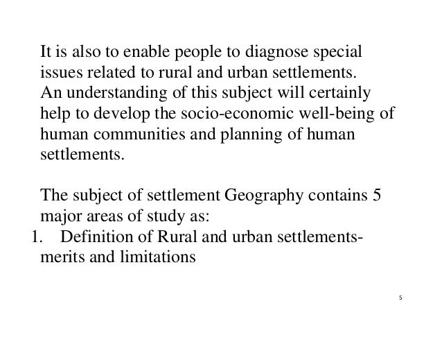 Scope of settlement geography