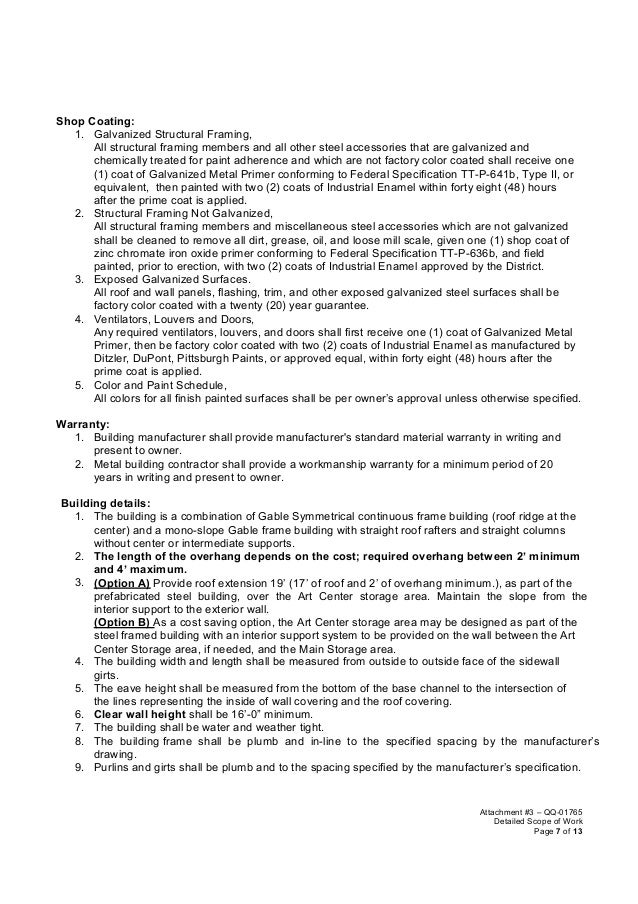 Scope of work template for Subcontractor scope of work template