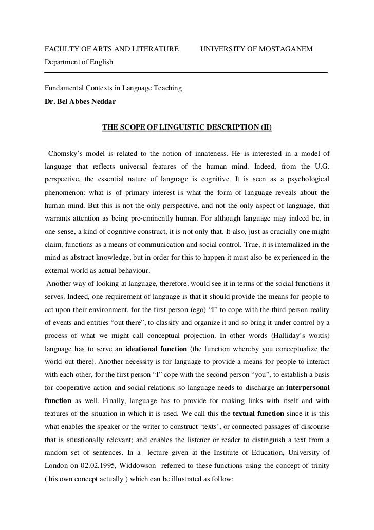FACULTY OF ARTS AND LITERATURE                        UNIVERSITY OF MOSTAGANEMDepartment of EnglishFundamental Contexts in...