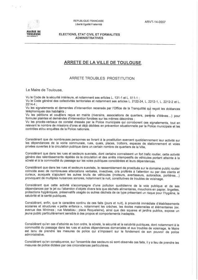 Arrêté anti-prostitution ville de Toulouse