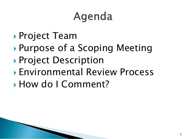 scoping meeting Nepa and project development used by the project sponsor and the department delegate to prepare and record a project scope for completing meeting minutes.