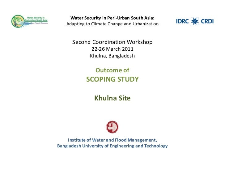 Water Security in Peri-Urban South Asia:    Adapting to Climate Change and Urbanization       Second Coordination Workshop...
