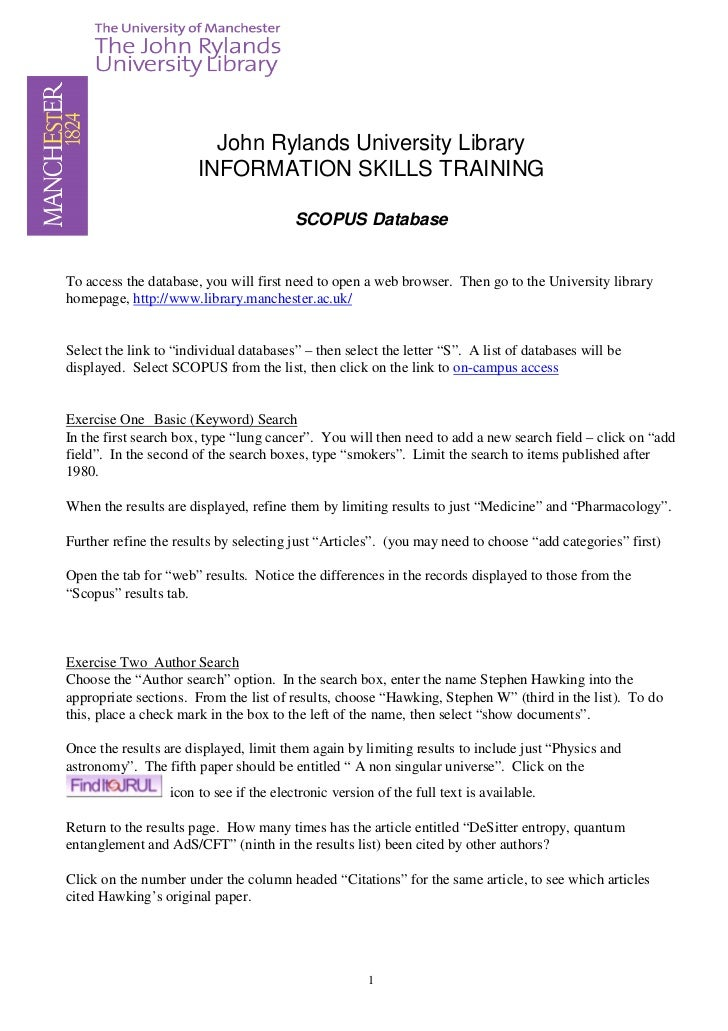 John Rylands University Library                       INFORMATION SKILLS TRAINING                                         ...