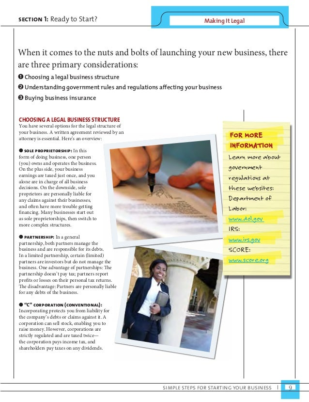 section 1: Ready to Start? Making It Legal  When it comes to the nuts and bolts of launching your new business, there  are...
