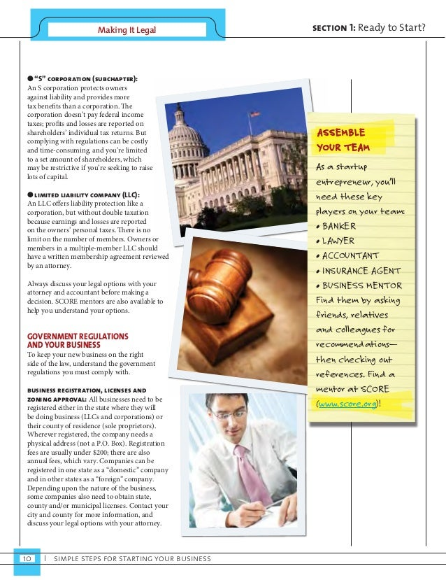 """Making It Legal  10 I simple steps for starting your business  section 1: Ready to Start?  ● """"S"""" corporation (subchapter):..."""