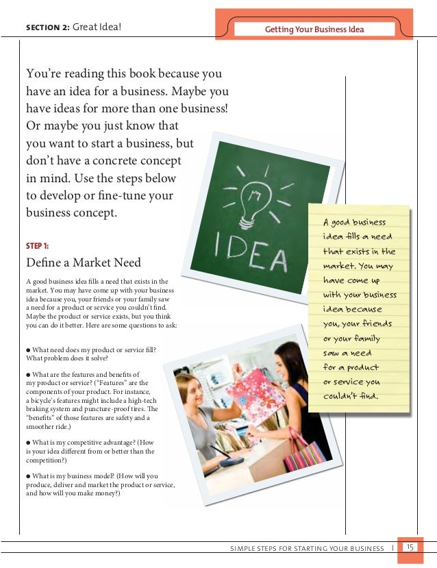 section 2: Great Idea! Getting Your Business Idea  simple steps for starting your business I 15  You're reading this book ...