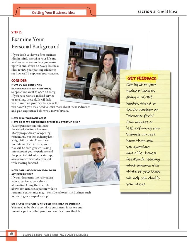 Getting Your Business Idea  16 I simple steps for starting your business  section 2: Great Idea!  STEP 2:  Examine Your  P...