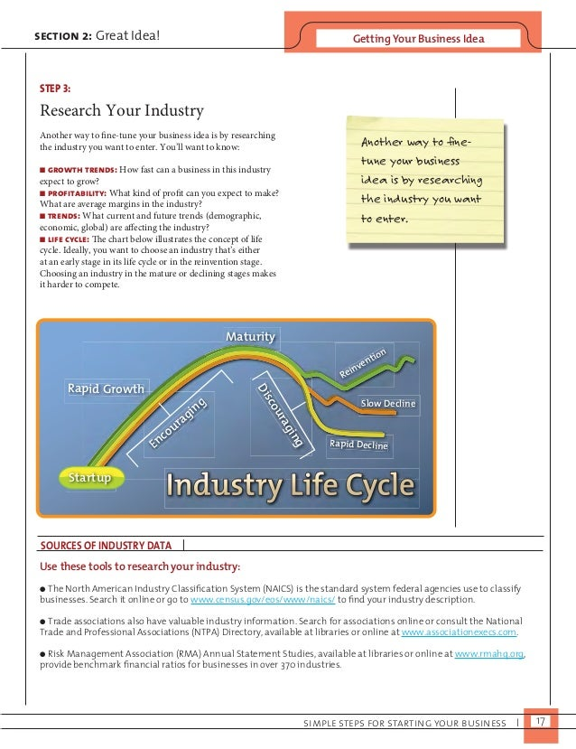 section 2: Great Idea! Getting Your Business Idea  STEP 3:  Research Your Industry  Another way to fine-tune your business...