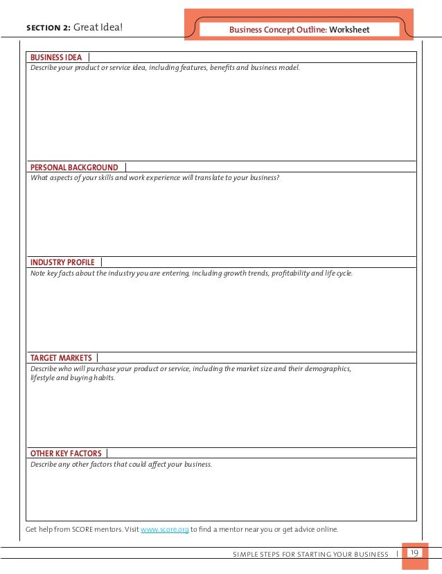 Business Concept O section 2: Great Idea! utline: Worksheet  Describe your product or service idea, including features, be...