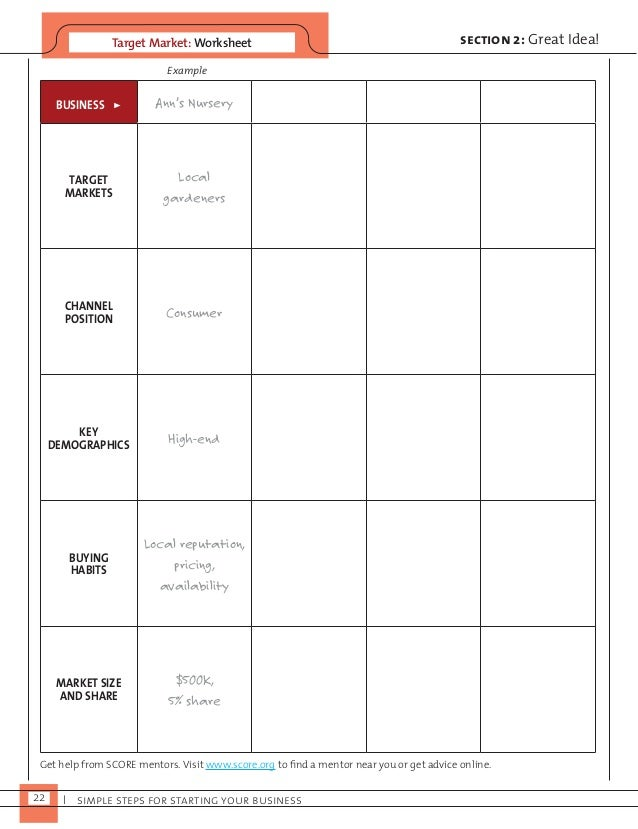Target Market: Worksheet  Example  22 I simple steps for starting your business  section 2: Great Idea!  BUSINESS > Ann's ...