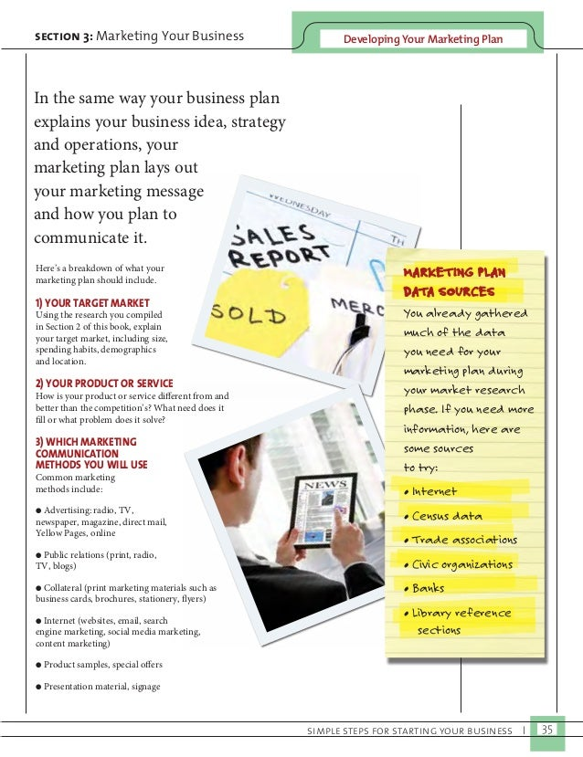 Developing Y section 3: Marketing Your Business our Marketing Plan  simple steps for starting your business I 35  In the s...