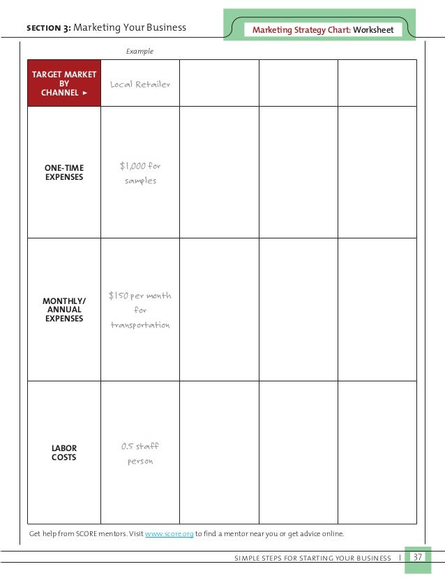 Marketing Strategy C section 3: Marketing Your Business hart: Worksheet  simple steps for starting your business I 37  TAR...