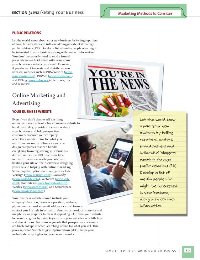 Marketing M section 3: Marketing Your Business ethods to Consider  simple steps for starting your business I 39  PUBLIC RE...
