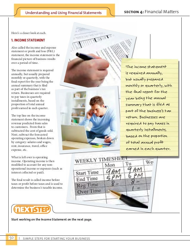 Understanding and Using Financial Statements  50 I simple steps for starting your business  section 4: Financial Matters  ...