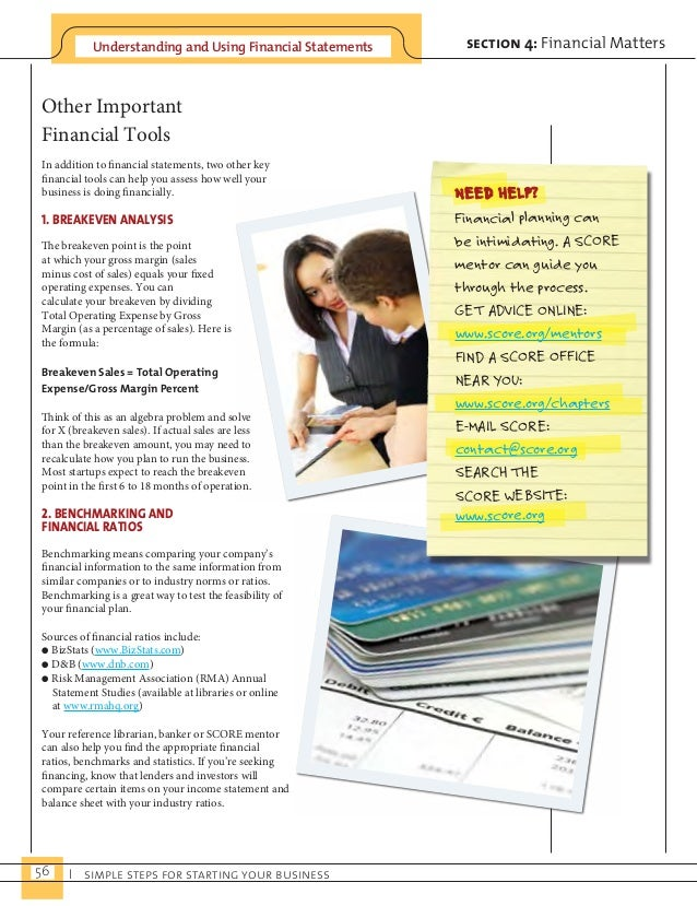 Understanding and Using Financial Statements  56 I simple steps for starting your business  section 4: Financial Matters  ...